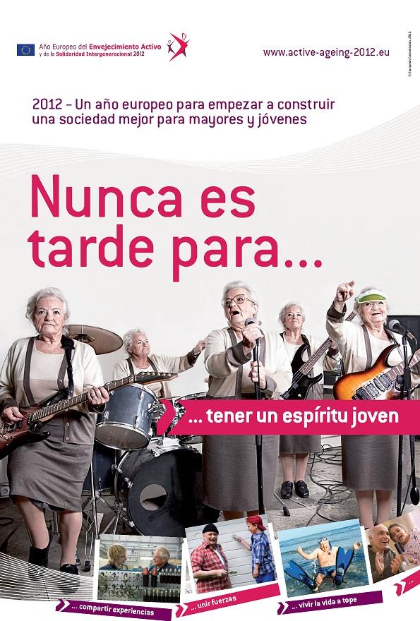 Divertido póster del Año Europeo del Envejecimiento Activo y la Solidaridad Intergeneracional